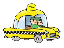 Taxi driver. A toon taxi driver in his shiny yellow cab Royalty Free Stock Images