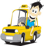 Taxi driver. Happy driver driving his yellow taxi Stock Photos
