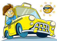 Taxi Driver. Cartoon illustration of taxi driver at sunny day Royalty Free Stock Image