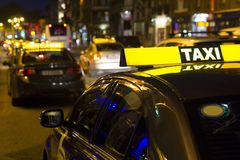 Taxi driver in city centr royalty free stock photos