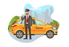 Taxi Driver con el personaje de dibujos animados aislado coche libre illustration