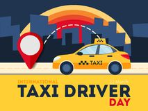 Taxi driver day. Yellow car with red pointer. Night city Royalty Free Stock Photography