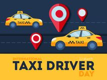 Taxi driver day. Yellow car with red pointer. Night city Stock Photography