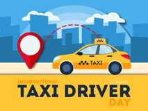 Taxi driver day. Yellow car with red pointer Stock Photo