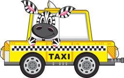 Taxi Driver de la cebra en taxi amarillo stock de ilustración