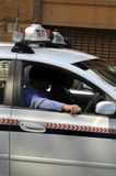Taxi driver detail. Taxi driver and passenger in taxi, open window, sydney Stock Photography