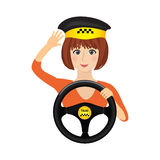 Taxi driver girl holding steering wheel. Concept background banner for order a taxi. royalty free illustration