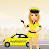 Taxi driver girl Stock Photos