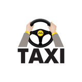 Taxi driver hands holding steering wheel with lettering TAXI. Ci royalty free illustration