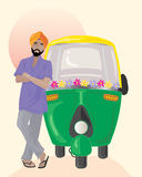 Taxi driver. An illustration of a sikh taxi driver with orange turban standing next to a decorated auto rickshaw under an indian sun Stock Images