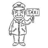 Happy taxi driver. Isolated objects on white background. Cartoon vector illustration. Coloring pages. Taxi driver. Isolated objects on white background. Cartoon Royalty Free Stock Photo
