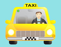 Taxi and driver man. Taxi car and driver man Royalty Free Stock Photography