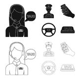 A taxi driver with a microphone, a taxi driver at the wheel, a cell phone with a number, a car steering wheel. Taxi set. Collection icons in black,outline style Stock Photo