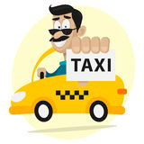 Taxi driver moves by car and smiling Royalty Free Stock Photo