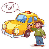 Taxi driver near the machine with text bubble Stock Photos