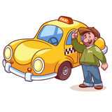 Taxi driver near the machine Royalty Free Stock Image