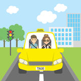 Taxi driver with passenger. Stock Image