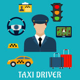 Taxi driver profession flat icons Stock Photos
