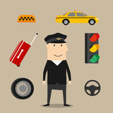 Taxi driver profession icons set Royalty Free Stock Photo