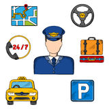 Taxi driver profession and service icons Stock Image