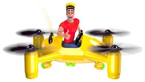 Taxi. The taxi driver in a red t-shirt flew on a yellow quadcopter. 3D illustration Royalty Free Stock Photography