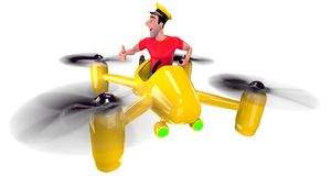 Taxi. The taxi driver in a red t-shirt flew on a yellow quadcopter. 3D illustration Stock Photography