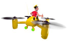 Taxi. The taxi driver in a red t-shirt flew on a yellow quadcopter. 3D illustration Stock Photos