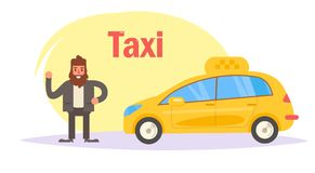 Taxi driver stands near the car. Vector. Cartoon. Isolated art on white background. Flat Royalty Free Stock Photo