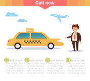 Taxi driver stands near taxi. Royalty Free Stock Photography