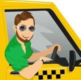 Taxi driver with sunglasses in yellow car smiling stock illustration
