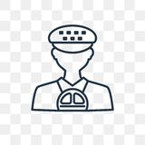 Taxi driver vector icon isolated on transparent background, line royalty free illustration