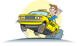 Taxi driver. Vector illustration of crazy taxi driver Royalty Free Stock Photo