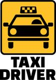 Taxi driver with yellow cab icon. Vector Stock Image