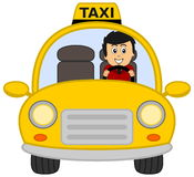 Taxi driver. A yellow illustration Stock Photo