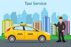 Taxi driver. yellow taxi Stock Photos