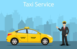 Taxi driver. yellow taxi Stock Photography