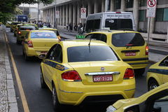 Taxi drivers protest against Uber in Brazil Royalty Free Stock Photos