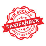 Taxi drivers wanted - german printable stamp / label Stock Photography
