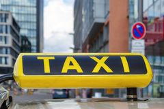 Taxi in Dusseldorf City, Germany. Sign closeup Royalty Free Stock Images
