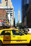 Taxi and Empire State Building in New York Royalty Free Stock Images