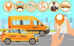 Taxi en Bestuurder Services Vector vlakke illustratie stock illustratie