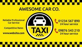 Taxi en het miniontwerp van het cabineadreskaartje Stock Foto's