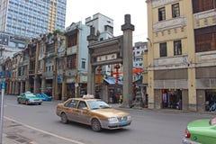 Taxi en la calle china Fotografía de archivo libre de regalías