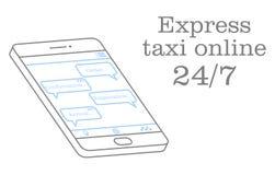 Taxi expreso en línea Vector el ejemplo de una charla en el uso con el operador Diseño para un en línea ilustración del vector