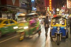 TAXI FÖR THAILAND BANGKOK KINA STAD TUK TUK Arkivfoto