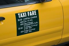 Taxi Fare. S displayed on the side of a yellow cab in New York City royalty free stock photography