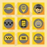 Taxi fijado iconos planos Foto de archivo