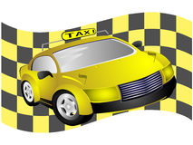 Taxi and flag Stock Photo