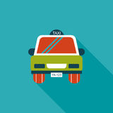 Taxi flat icon with long shadow. Cartoon vector illustration royalty free illustration