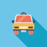 Taxi flat icon with long shadow. Cartoon vector illustration vector illustration